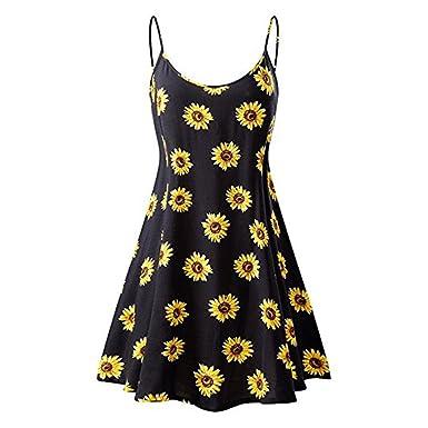 655c2df24 Women Summer Sundress, Vintage Sunflower Printed Sleeveless Strappy Beach  Swing Cami Mini Dress (S