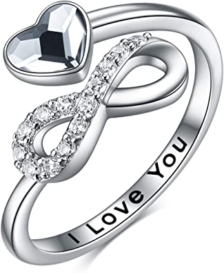 Ladies Girls 925 Sterling Silver Love Red Heart Open Ring Gift Valentine's Day