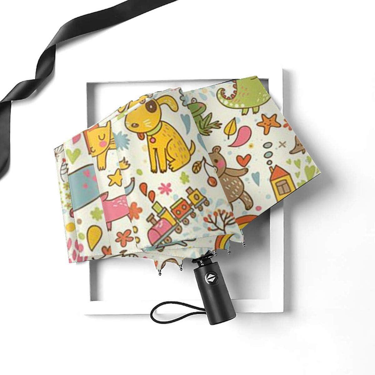 Cute Colorful Dogs Cats Animal Umbrella Compact Rain/&Wind Repellent Umbrellas Sun Protection With Anti UV Coating Travel Auto Folding Umbrella