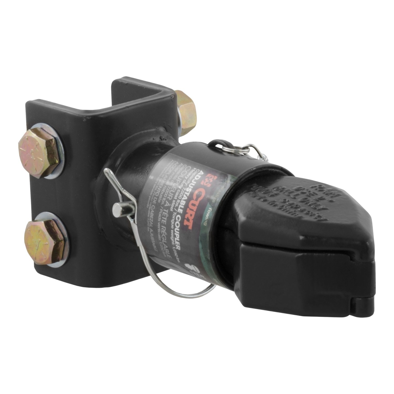 CURT 25319 Channel-Mount Adjustable Trailer Coupler Accepts 2-Inch Hitch Ball, 7,000 lbs.