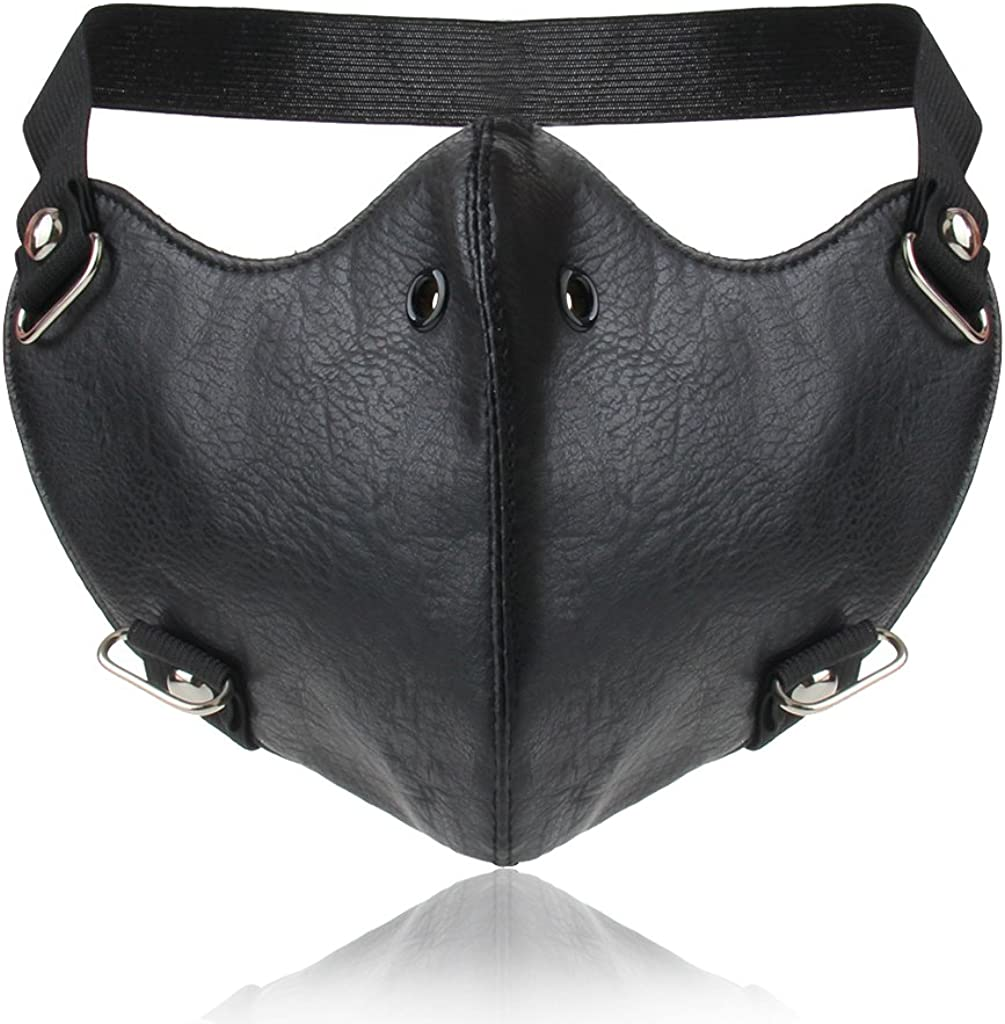 Jeilwiy Black Leather Mask Motorcycle Half Face Mask for Bikers Punk Cosplay Mask