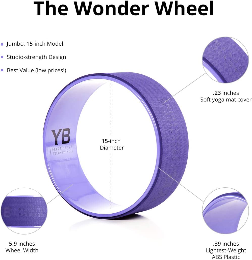 YOGABODY Jumbo Yoga Wheel with DVD, Dusk Purple, 15 inches