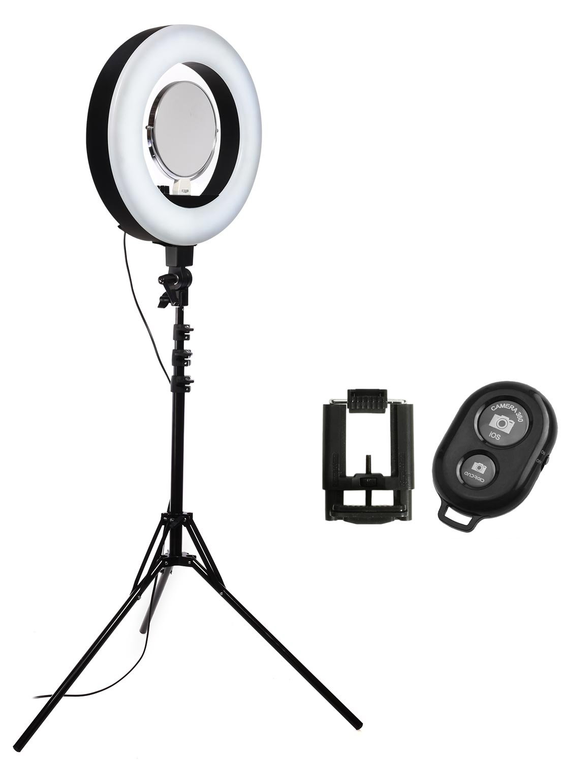 Stellar 18'' LED Diva II Ring Light (Black) w/Wireless Bluetooth Camera Shutter Remote Control for IOS & Android Phones and Universal Smartphone Tripod Mount & Adapter For Most Smartphones by Calumet