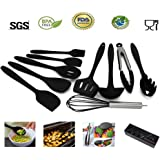 Bellagione Silicone Kitchen Utensil Set of 10 Cooking Item Non-Stick and Anti-Bacteria BPA-free and heat resistant For Cooking Baking and Grill (Black)