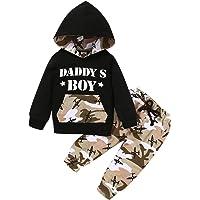 Shiningbaby Daddy'S Boy Mama's Boy Outfits Ropa de bebé recién Nacido Camuflaje Sudaderas con Capucha Camisas Pantalón…