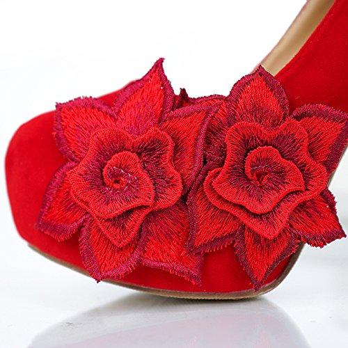 Qingchunhuangtang@ Die Braut Besteickte Hochzeit Schuhe Besteickte Braut Schuhe All-Match rotes Kleid Schuhe 667cfb