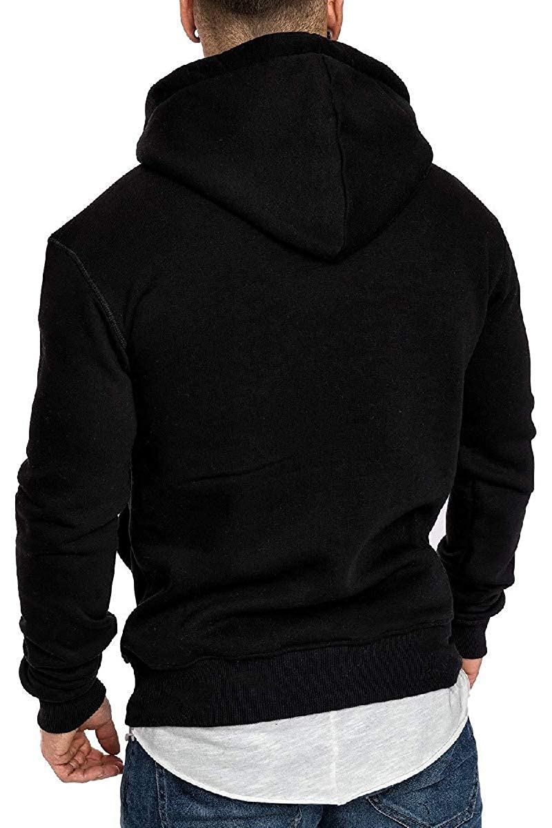 Mfasica Mens Outdoor Casual Workout Solid Colored Plus Velvet Hoodie Sweatshirts