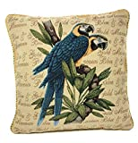 DaDa Bedding Accent Cushion Cover - Parrots in Love Macaw Birds - Elegant Accent Colorful Woven Square - 18'' x 18''