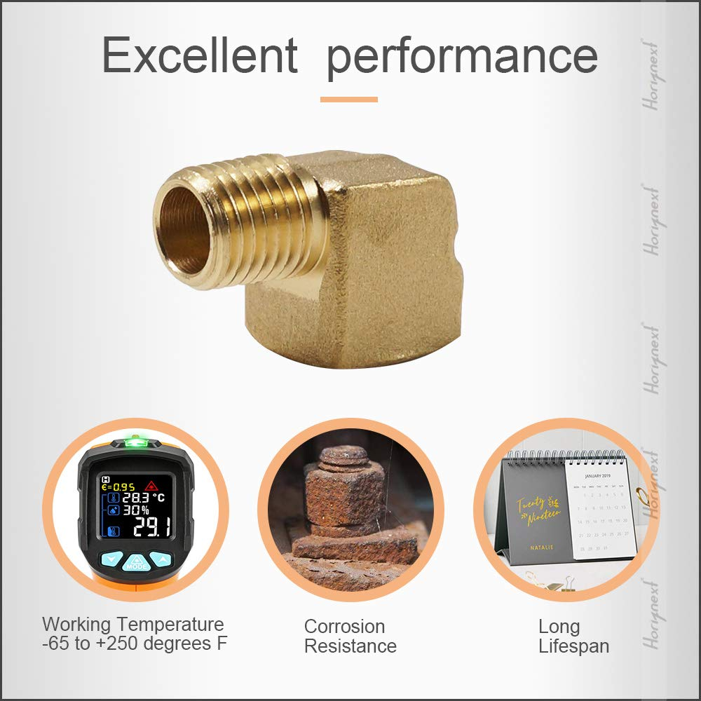 Horiznext npt 1//4 inch Brass Male and Female 90 Degree Elbow for Fuel Water Gas Tube Connector