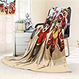 YOYI-HOME Plush Throw Duplex Printed Blanket Super Soft Spring Festival Lion Dance Illustrations Warm Microfiber All Season Blanket Perfect for Couch Sofa/47 W by 59'' H