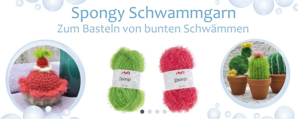 deutsch//italienisch 12 unterschedliche Farben Spongy Schwammgarn und Anleitungsbuch Kreative Schw/ämme Stafil Spongy Garn H/äkelset
