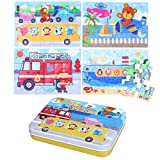 TOYMYTOY 4-In-1 Transportation Series Jigsaw Puzzle Sets Wooden Puzzles for Toddlers Cognitive Development