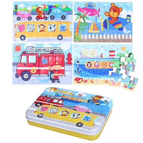 TOYMYTOY 4-In-1 Transportation Series Jigsaw Puzzle Sets Wooden Puzzles for Toddlers Cognitive Development Preschool Recognition Toys Kids Gift