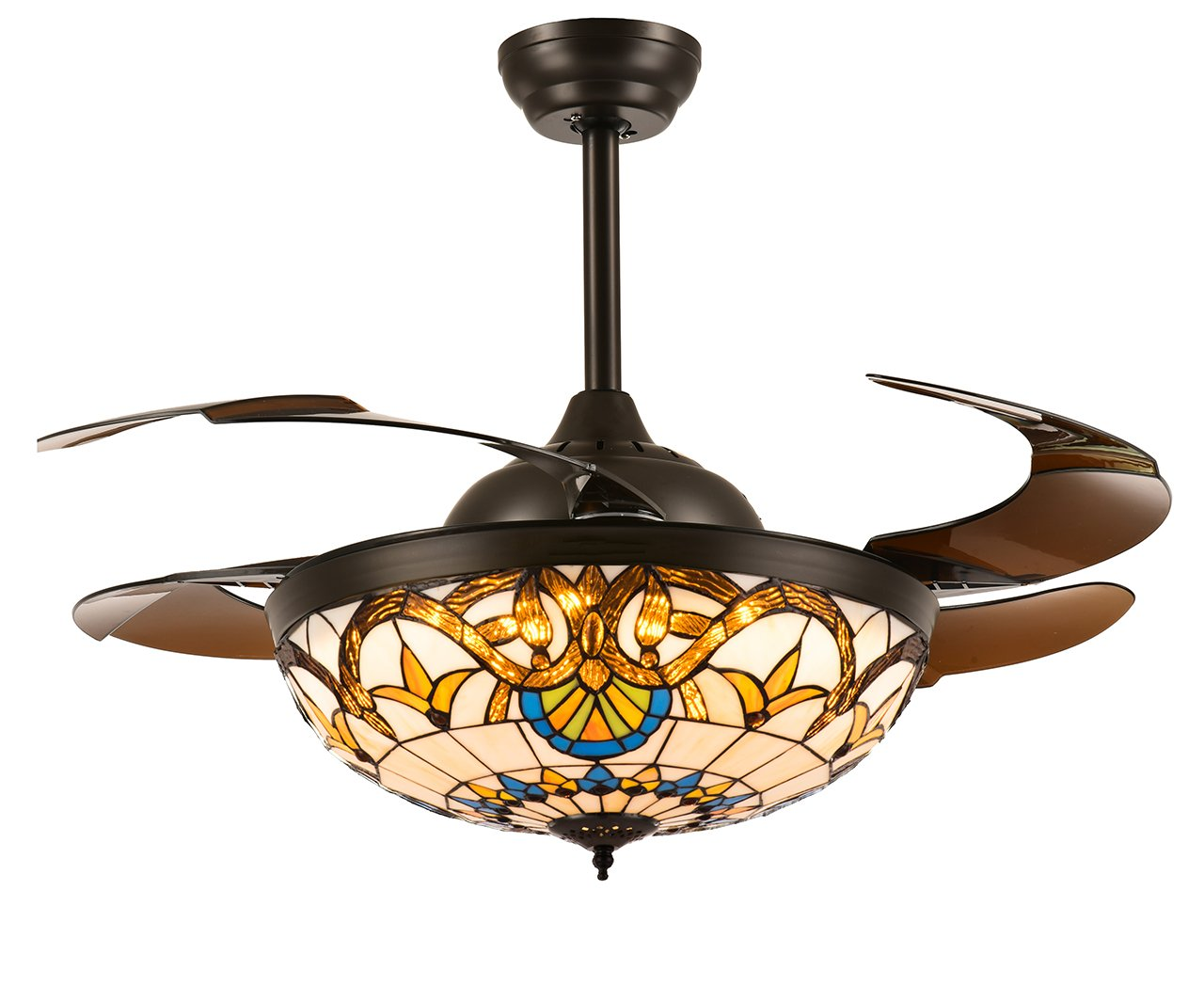 Siljoy Retractable Ceiling Fans with Remote and Lights Mediterranean ...