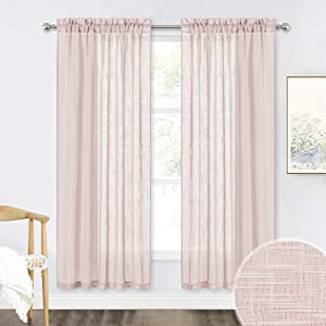 RYB HOME Living Room Curtains - Privacy Linen Sheer Light & Airy Rod Pocket Semi Sheer Drapes for Bedroom Office Cafe Window Decor, Blush Pink, 52 x 72 inches Long, 2 Panels