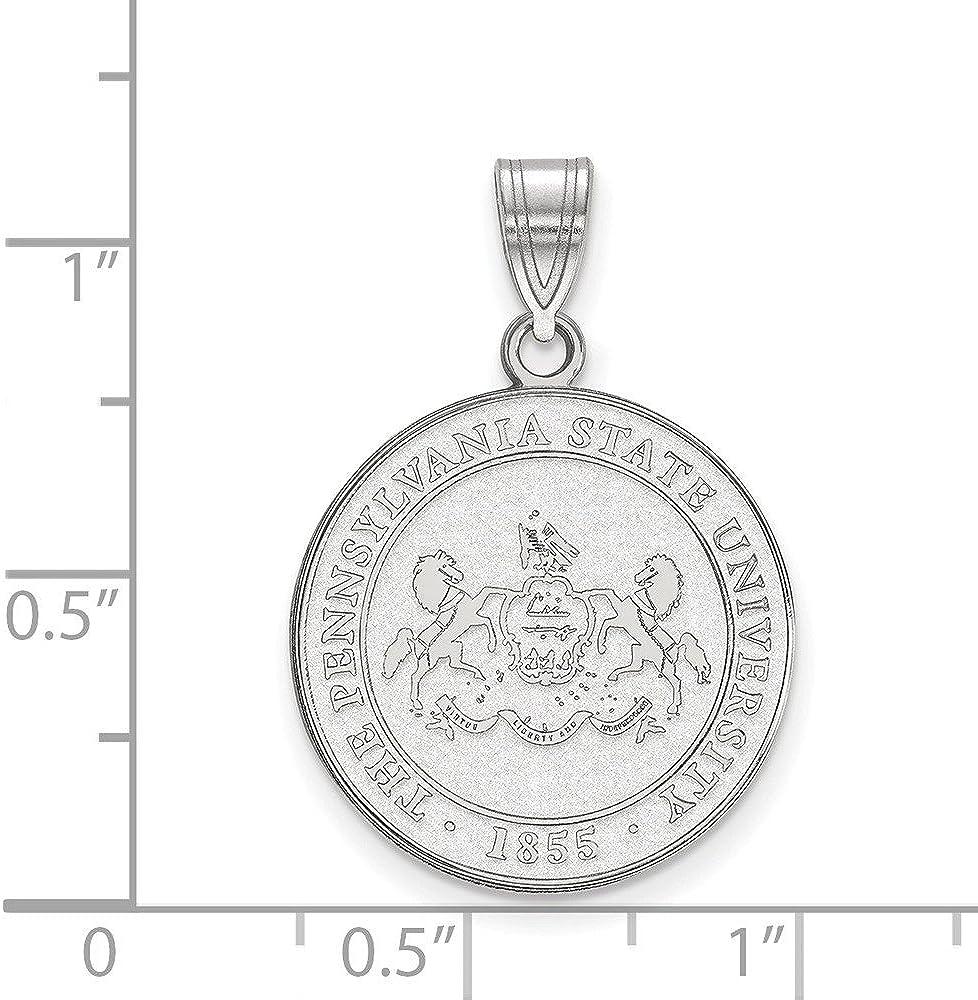 925 Sterling Silver Rhodium-plated Laser-cut Syracuse University XL Disc Pendant