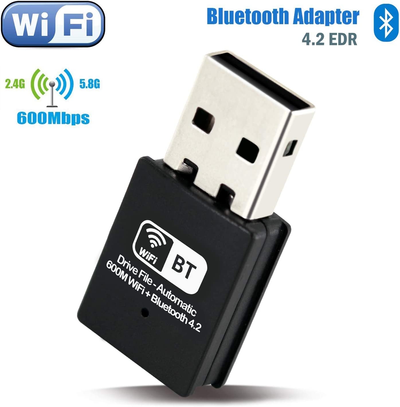 Kocbelle USB WiFi Bluetooth 4.2 Adapter - Wi-Fi Receiver 600 Mbps and Wireless Bluetooth 2-in-1 Dongle, for Windows XP/ 7/ 8/ 10, Mac OS, PC Laptop