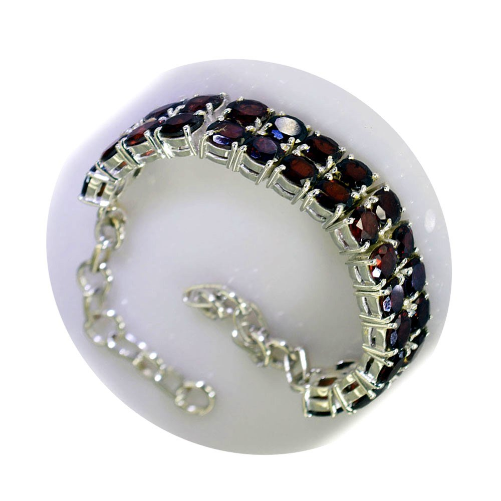 Natural Garnet Silver Handmade Bracelet For Gift January birthstone Tennis Style Astrological L 6.5-8 Inch