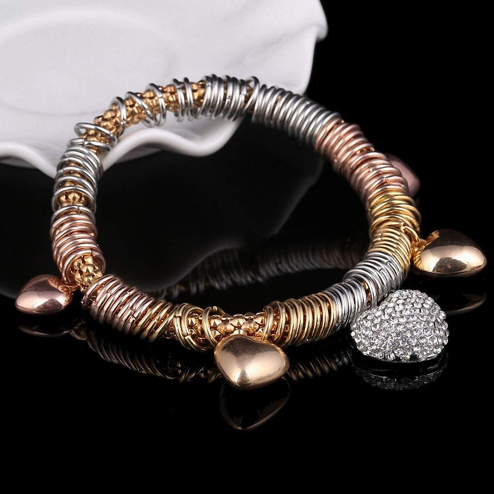 Womens Luxury Crystal Heart Charm Bracelets /& Bangles Ladies Bracelets for Women Jewellery Golden Pulseira Feminina Price
