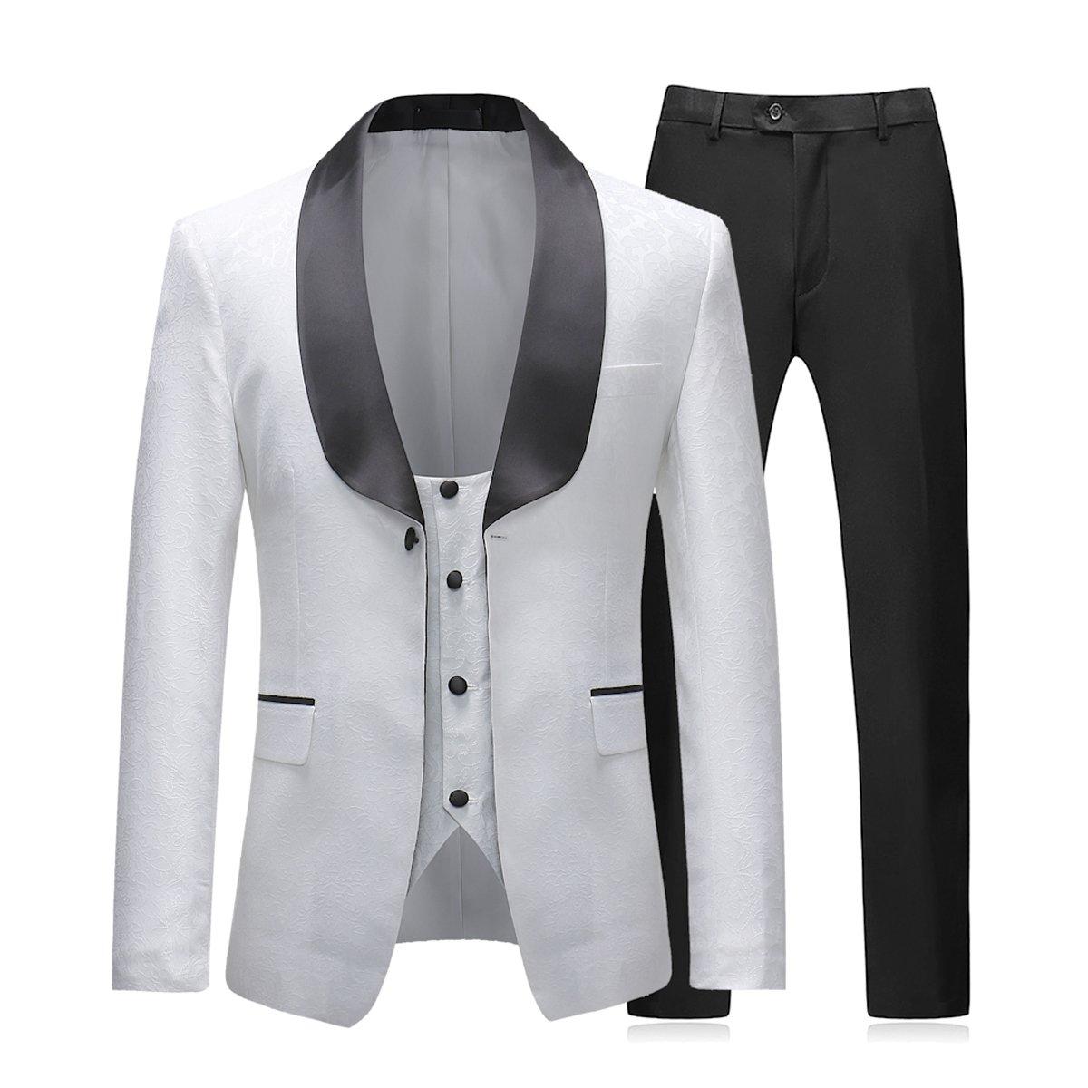 Abiti da Uomo 3 Pezzi Slim Fit Bianco Smoking Giacca Monopetto 1 Pulsante Vestito da Pranzo Giacca Gilet Nero Pantaloni