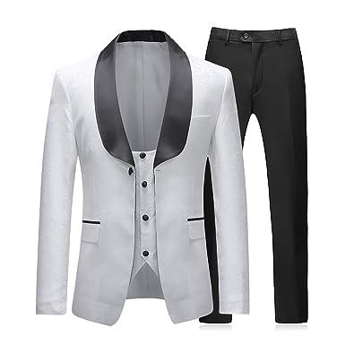Sliktaa Costume Homme Blanc 3 Pièces Slim Fit Élégant Formel Mariage  Business Bal Tuxedo Veste Gilet 554e5765ea4