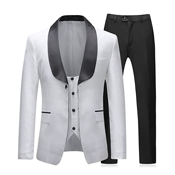 94b938d529a46 Mens Suits 3 Piece Slim Fit Wedding White Tuxedo Jacket Single Breasted 1  Button Dinner Suit