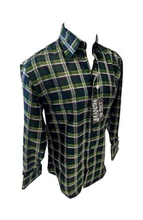 Mens Manzini Designer Woven Button Up Shirt Olive Green Plaid