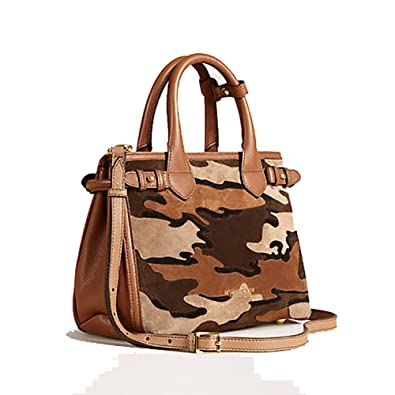 5d4243357ef5 Amazon.com  Tote Bag Handbag Authentic Burberry The Small Banner in  Camouflage Suede Tan Item 39906841 Made in Italy  Shoes