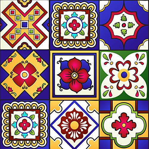 Backsplash Tile Stickers 24 PC Set Authentic Traditional Talavera Tiles Stickersl Bathroom & Kitchen Tile Decals Easy to Apply Just Peel and Stick Home Decor 4x4 Inch (Mexican Tile Stickers M)