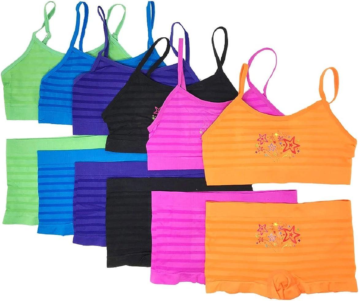 Small, Stars /& Stripes I/&S Girls Spaghetti Straps Bras /& Seamless Boyshorts or Bikinis Pack of 6 Matching Sets