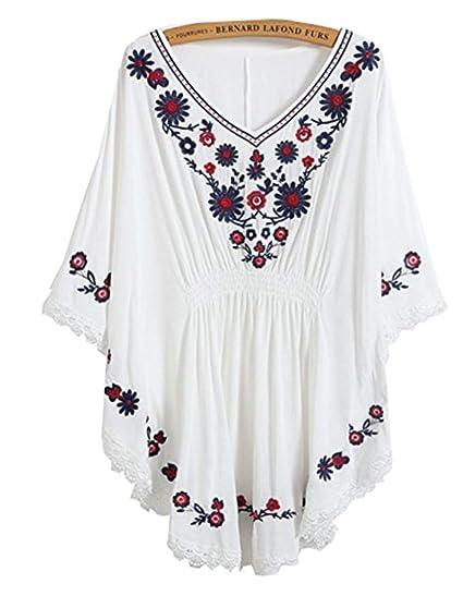 Blusa para Mujer Bordados Vestido Étnico Mexicano con ...