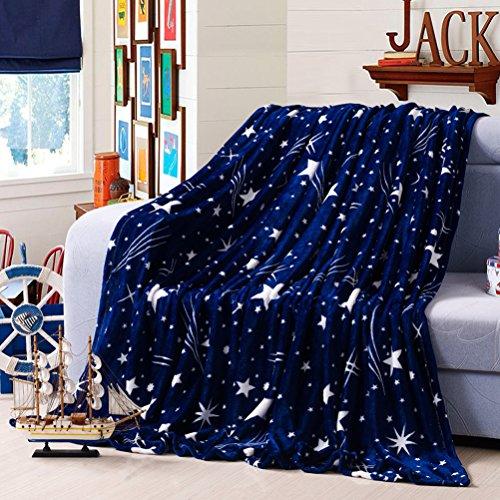 (YJBear Blue Starry Sky Dot Print Lightweight Flannel Velvet Fleece Blanket Super Soft Plush Throw Queen Size Super Warm Fuzzy Microfiber Bedding Blanket for Sofa/Bed/Couch 79