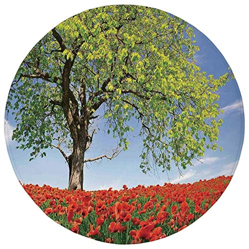 YOWAKi Round Rug Mat Carpet,Poppy,Landscape of Blooming Poppies on Field Majestic Tree Rural Terrain Habitat Photo,Green Red Blue,Flannel Microfiber Non-Slip Soft Absorbent,for Kitchen Floor Bathroom
