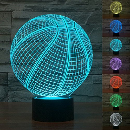 (Surprise Gifts 3D Illusion Desk Lamps, Multi-colored Change Basketball Shape Smart Touch Switch LED Art Sculpture Night Light for Home Décor or Best Present for Men Kids Boys Friends)