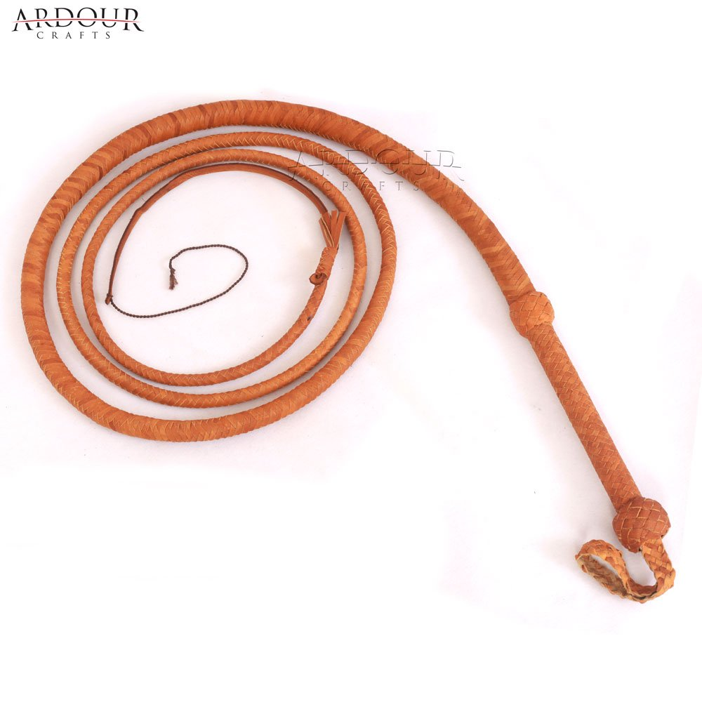 Cow Hide Leather Bull Whip 10フィートロング12 PlaitタンBullwhip Loud Crack and Heavy Duty   B07BCDNV88