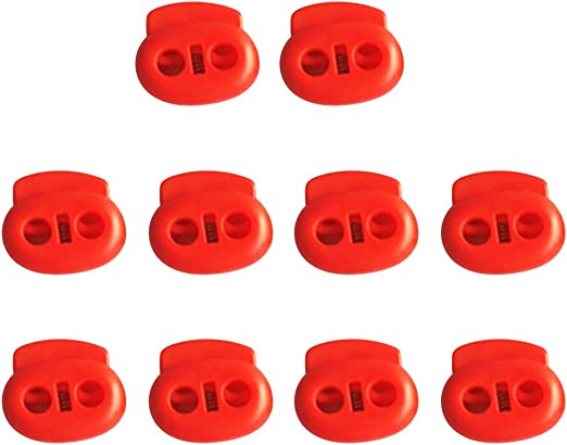 MonkeyJack Pack of 10 Heavy Duty Double-Holes Plastic Bean Cord Lock Clamp Toggle Stop Slider for Paracord Accessory Cordage Indoor//Outdoor Use Drawstrings Elastic Cord