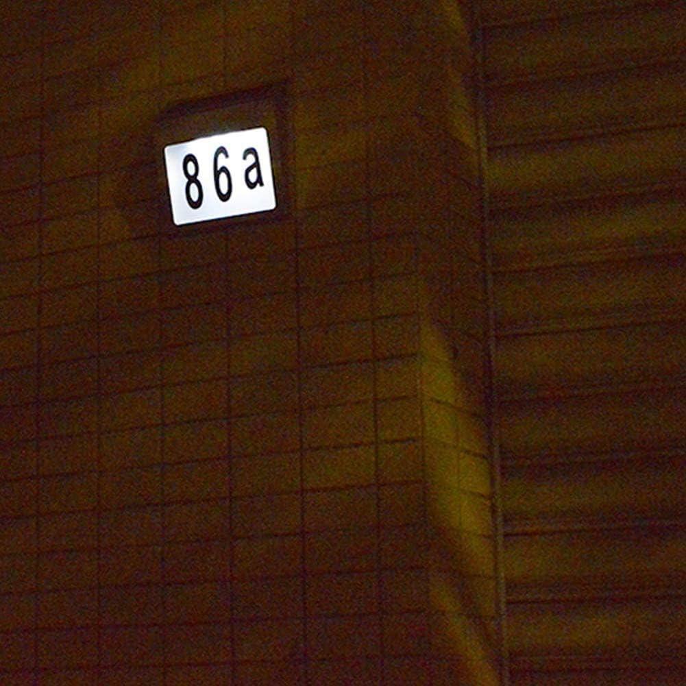 Cestbon Solar Iluminado Direcci/ón Signo de la casa N/úmero de la casa del Metal de la Calle Buz/ón Exterior LED Placa con Sensor de luz DIY de Letras y n/úmeros,Gris