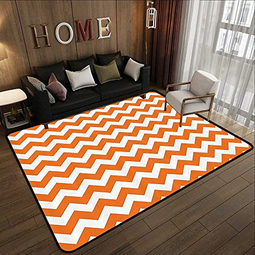 Floor mat,Chevron Decor,Halloween Pumpkin Color Chevron Traditional Holidays Autumn Celebrate 47