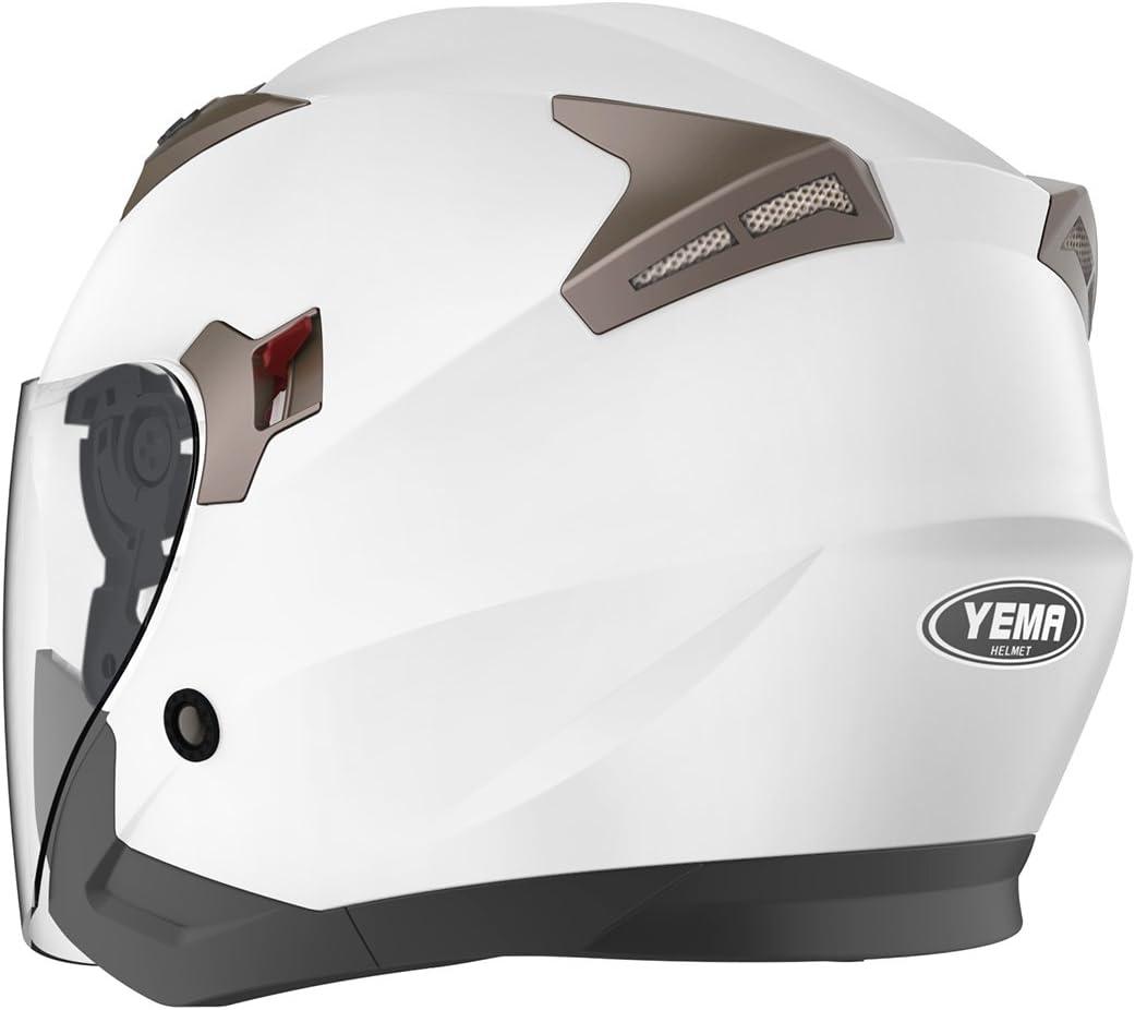 YEMA YM-627 Casco Moto Abierto Custom Scooter para Mujer Hombre Adultos con Doble Visera-Blanco-L Casco Moto Jet ECE Homologado