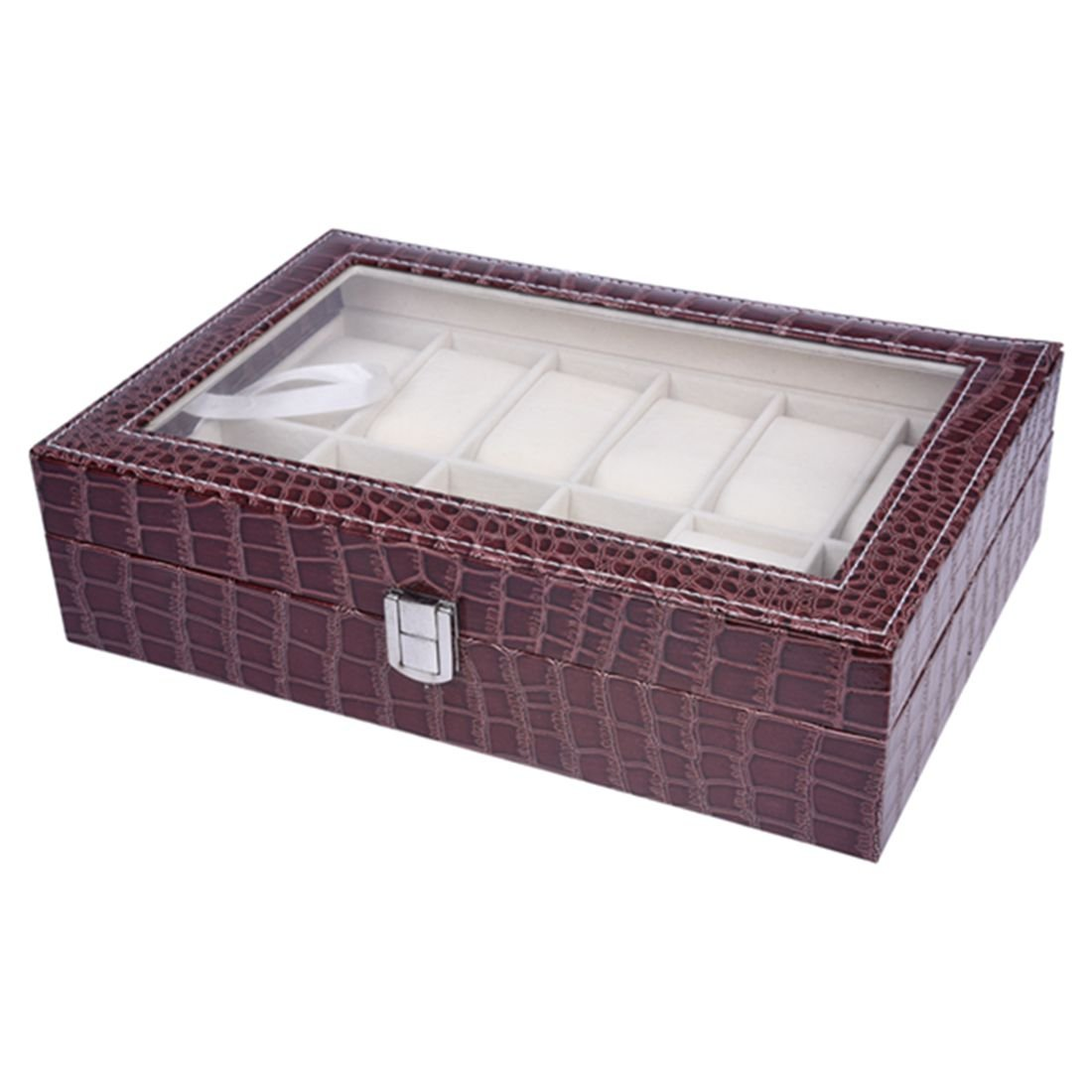 SODIAL(R) Faux Leather Watch Case Storage Display Box Organiser Jewelery Glass Top Size:12 Grid Crocodile Brown