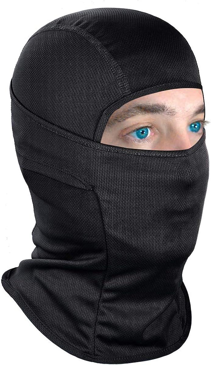 Achiou Balaclava Face Mask UV Protection for Men Women Ski Sun Hood Tactical Masks Black: Clothing