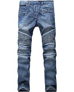 STRIR Pantalones Vaqueros de Moto de Hombres Pantalones de ...