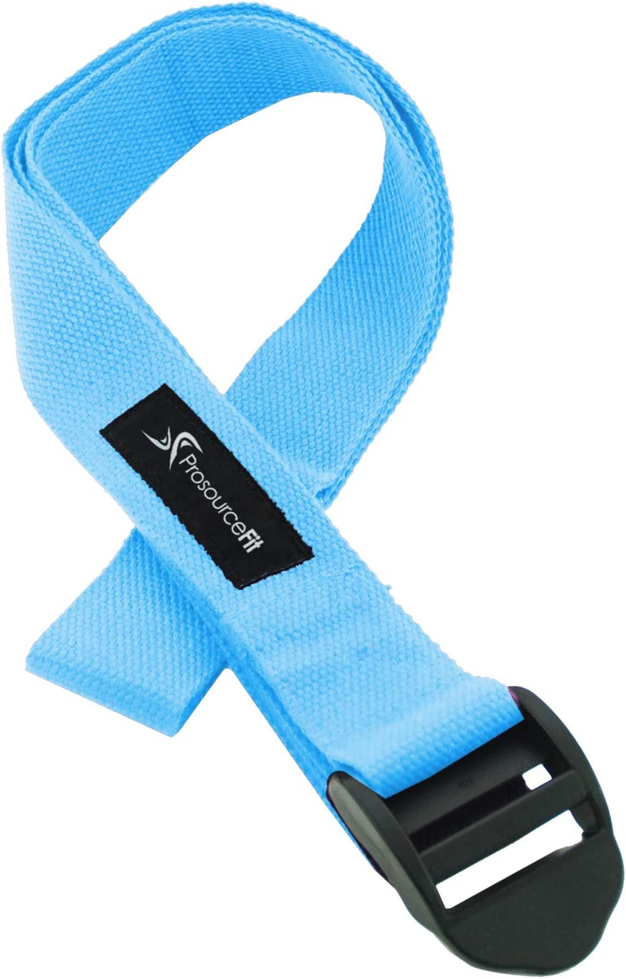 Prosource Fit Cinch Buckle Yoga Strap, Durable Cotton 8ft. x 1.5in for Stretching, Holding Yoga Poses and Physical Therapy