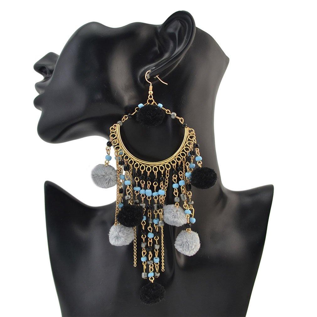 Jinxian Venonat Tassels Drop Earrings Gold Plated Dangling Graceful Studs Hook