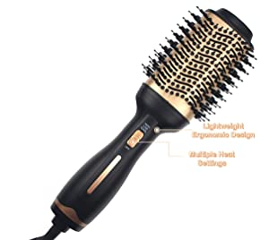 Hot Air Brush,Hair Dryer Brush, Professional One Step Hair Dryer & Volumizer 3 in 1 Upgrade Anti-scald Negative Ionic Technology Hair Straightener Brush,Salon Negative Ion Ceramic Electric Blow Dryer
