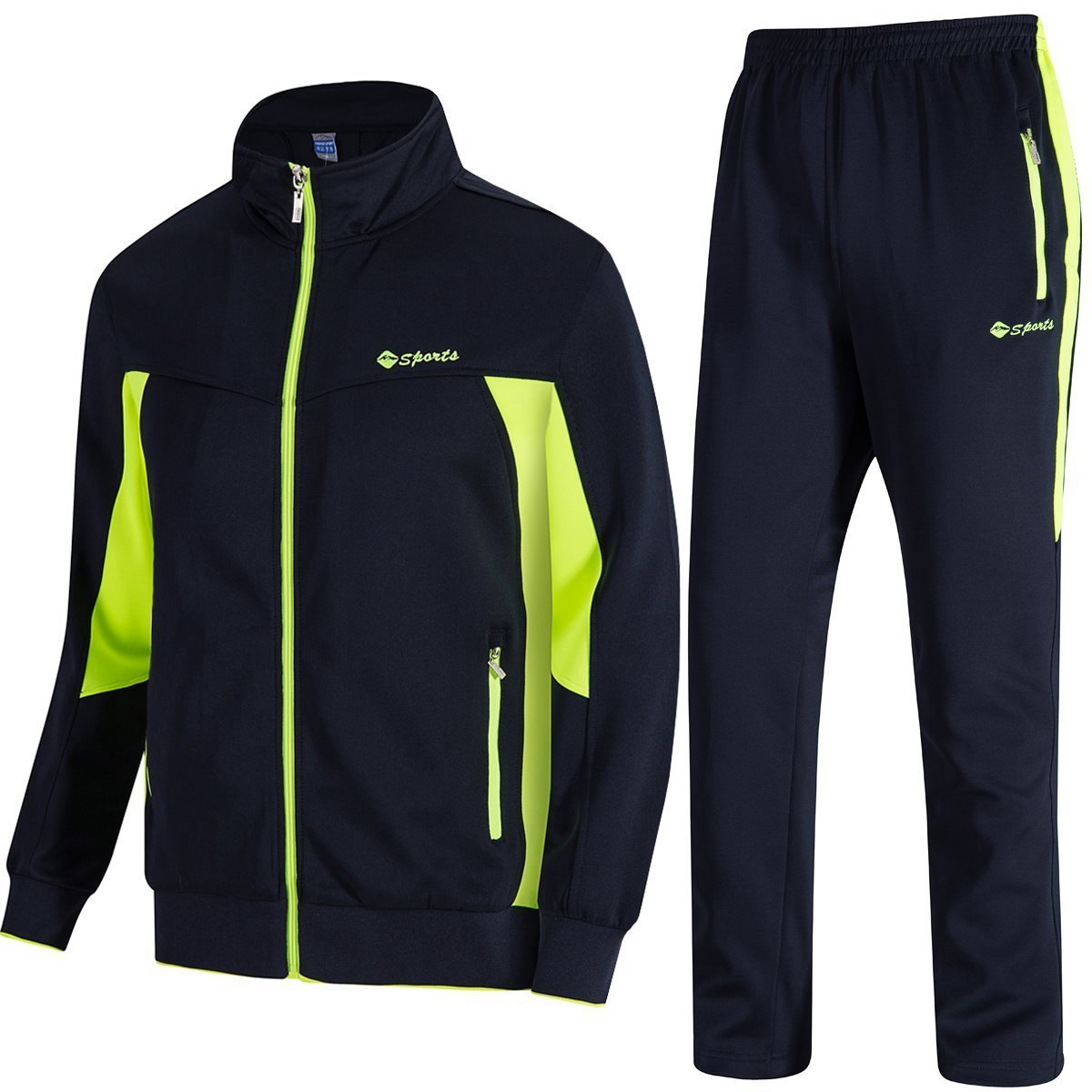 TBMPOY Men's Essential Running Top & Bottoms Set Long Sleeve Training Wear(Navy Fluorescent Green,US XL)