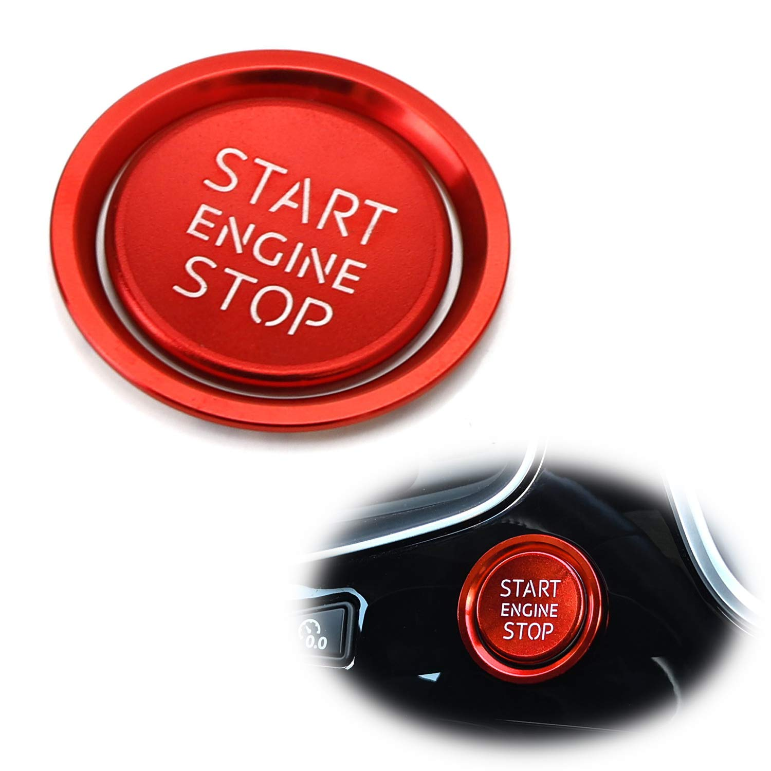 iJDMTOY (1) S-Line RS Style Red Aluminum Keyless Engine Push Start Button w/Surrounding Ring Trim For Audi A4 A5 A6 A7 A8 Q5, etc iJDMTOY Auto Accessories Peel-N-Apply Self-Adhesive Ring/Cover