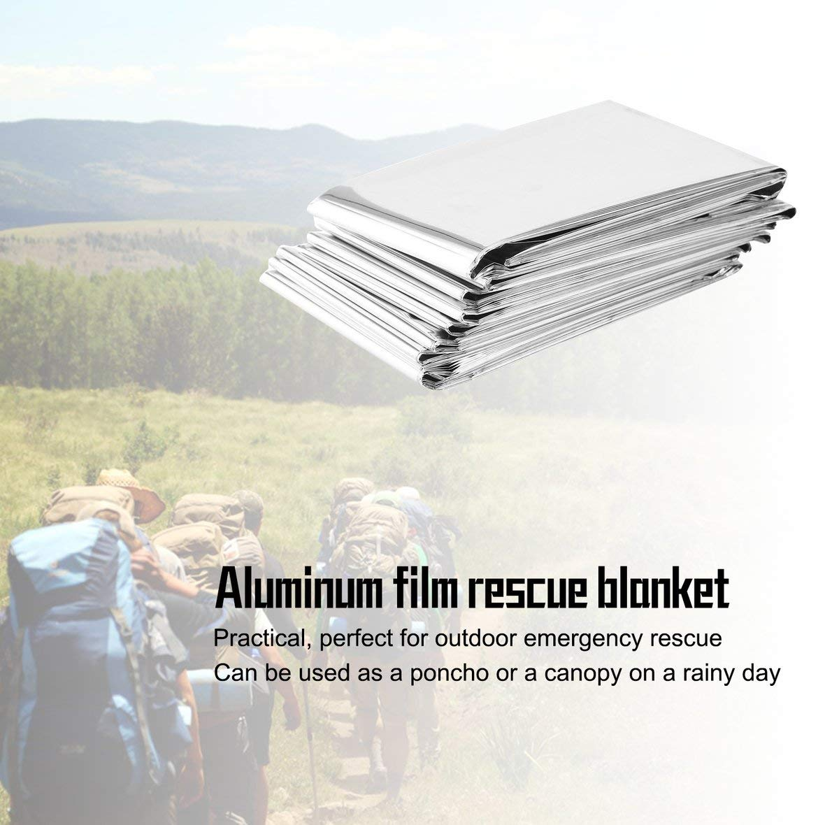 Silver Waterproof Disposable Outdoor Military Survival Emergency Rescue Space Foil Thermal Blanket First Aid Sliver Curtain