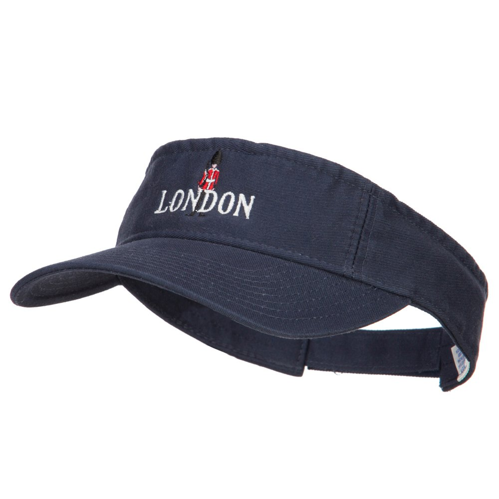 Queen Guard London Embroidered Pro Style Cotton Washed Visor - Navy OSFM