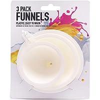 Funnel Set - 3 Pieces - 8cm, 10cm & 12cm - Plastic & Easy to Wash
